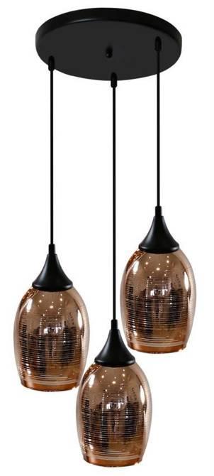 Awangardowa lampa wisząca, złożona z czarnego metalowego zawiesia oraz trzech szklanych kloszy w kolorze miedzianym Candellux Marina 33-51608  3xE27
