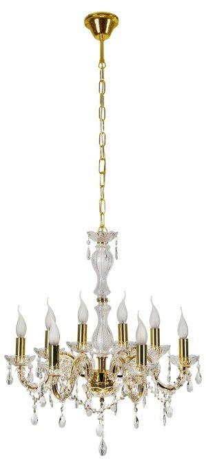 Duża elegancka klasyczna lampa wisząca, ekskluzywne połączenie złota, szkła i wysokiej jakości transparentnego akrylu Candellux Maria Teresa 38-94653