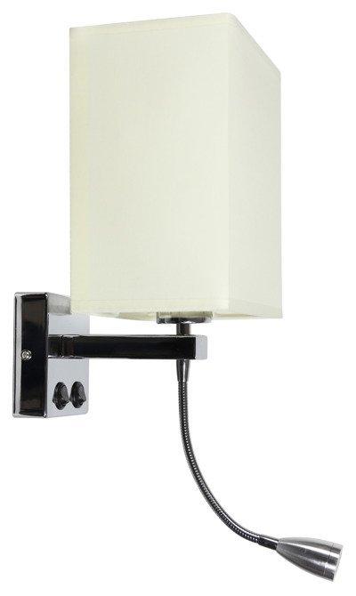 LAMPA ŚCIENNA KINKIET CANDELLUX BOHO 21-58270  E27 + 2W LED CHROM ABAŻUR PROSTOKĄTNY BEŻOWY