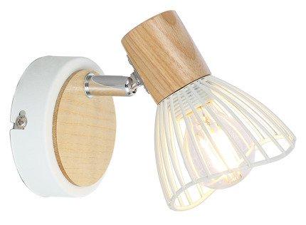 Lampa ścienna kinkiet 1X25W E14 biały + drewno CHILE 91-61614