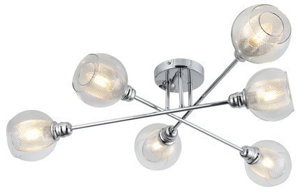 Lampa sufitowa chromowa szklany klosz z koszyczkiem 6x40W Dixi Candellux 36-61362