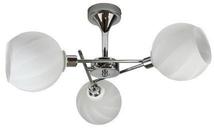 Lampa sufitowa potrójna chromowa biały szklany klosz Raul Candellux 33-72221