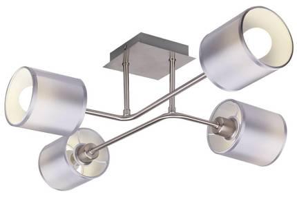 Lampa sufitowa satyna nikiel tkany abażur 4x40W Sax Candellux 34-70685