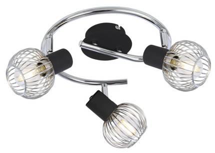 Lampa sufitowa spirala 3X40W E14 czarny/chrom OSLO 98-61867