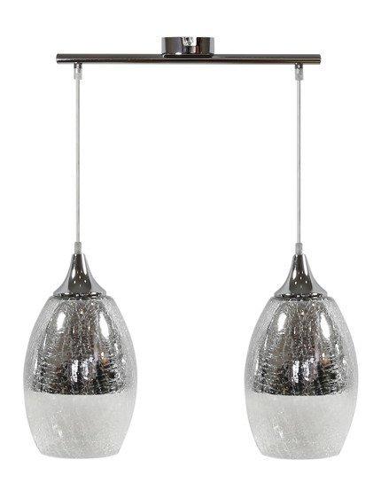 Lampa sufitowa wisząca srebrna regulowana 2x60W E27 Celia 32-51578