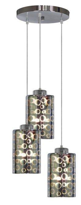 Lampa wisząca chrom talerz szklane klosze 3D 3x40W Nocturno Candellux 33-57747