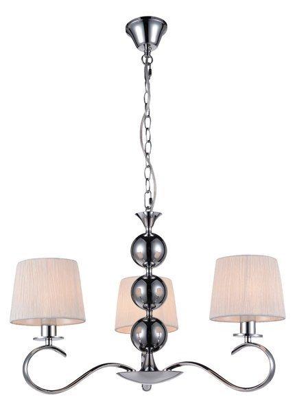 Lampa wisząca chromowa z białym abażurem z tkaniny 3x40W Clara Candellux 33-21618