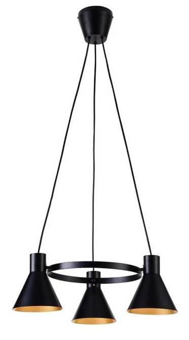 Lampa wisząca czarno-złota matowa sufitowa 3x40W More Candellux 33-71156