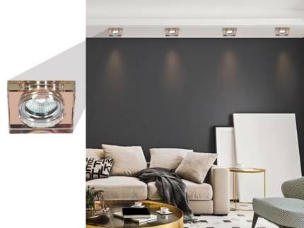 Oprawa stropowa oczko Candellux  SS-16 CH/BR MR16 CHROM KWADRATOWA SZKŁO BRĄZOWE