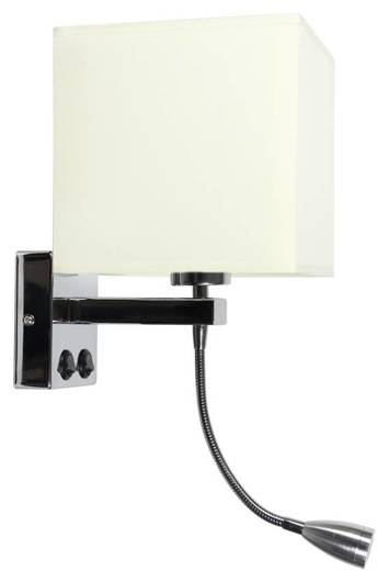 LAMPA ŚCIENNA KINKIET CANDELLUX BOHO 21-58256  E27 + 2W LED CHROM ABAŻUR KWADRATOWY BEŻOWY