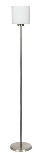 Lampa podłogowa srebrna matowa biały szklany klosz Visola Candellux 51-10271