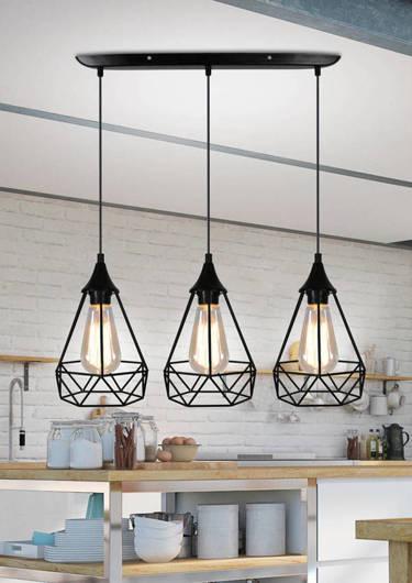 Lampa sufitowa wisząca czarna druciana 3x60W Ggraf Candellux 33-62901