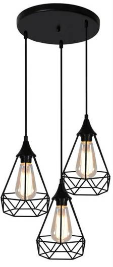 Lampa sufitowa wisząca czarna druciana talerz 3x60W Graf Candellux 33-62918