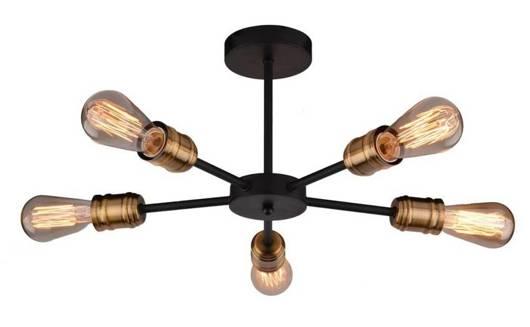 Lampa sufitowa wisząca czarna + patyna 5x60W Goldie Candellux 35-55767-Z