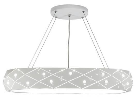 Lampa wisząca biała okrągła z kryształkami 5x40W Glance Candellux 31-59178