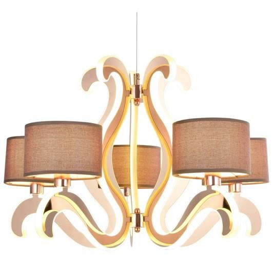 Lampa wisząca świecące ramiona x5 LED miedziana Ambrosia Candellux 35-33918