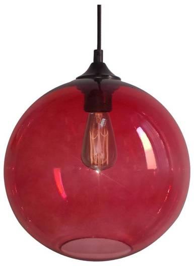 Lampa wisząca szklana kula czerwona + żarówka Edison 31-21410