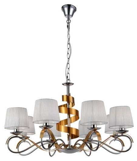 Lampa wisząca żyrandoł chrom/złoty 8x40W regulowany Denis Candellux 38-23469