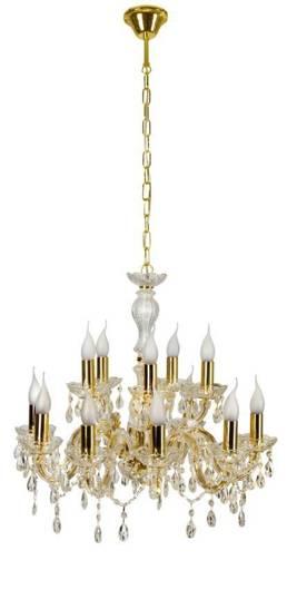 Lampa wisząca żyrandol z kryształkami złoty 12x40W Maria Teresa Candellux 30-94608